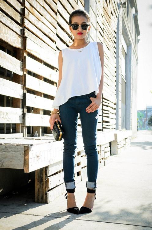 cuffed jeans + ladylike heels