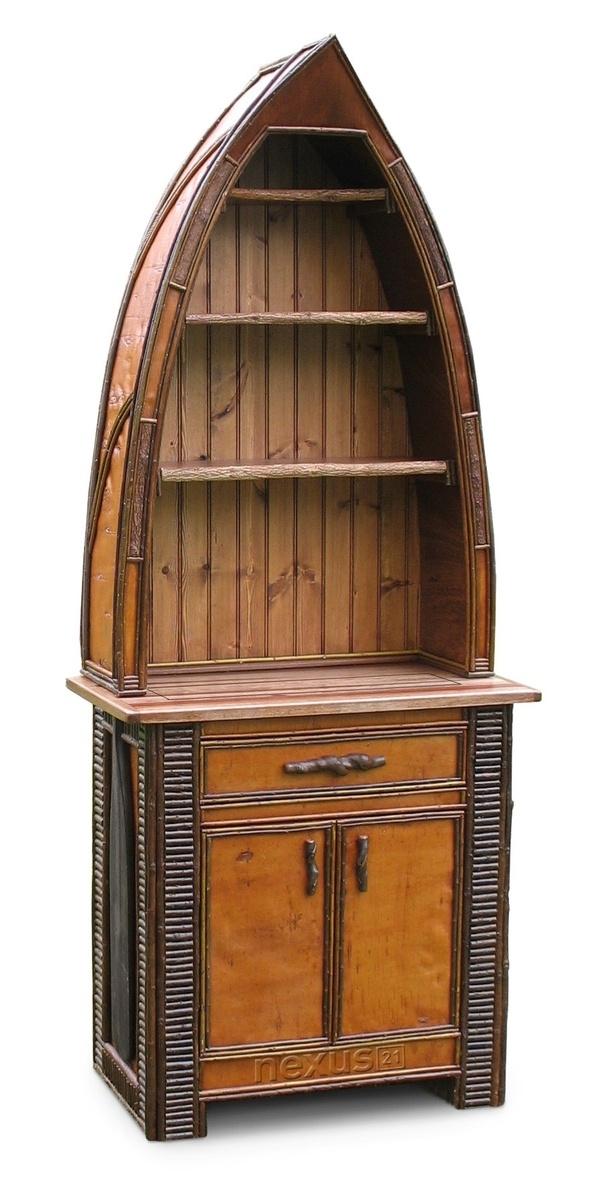 Rustic TV Lift Canoe Cabinet