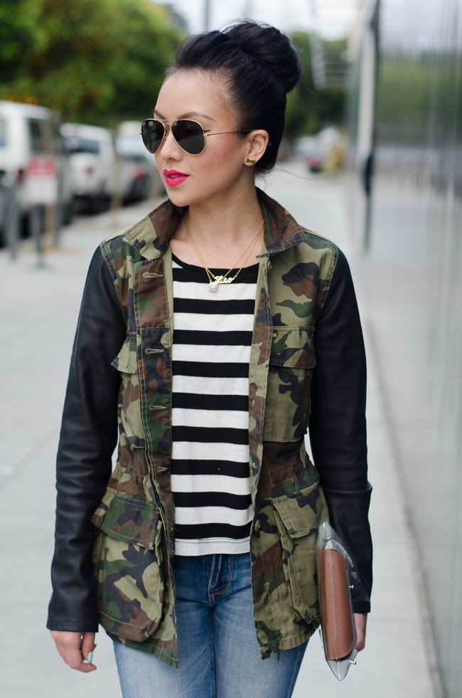 Camo Jacket with leather sleeves over black & white striped shirt (so much detail)