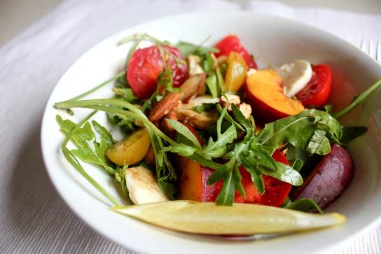 tomato peach and basil salad | Food | Pinterest