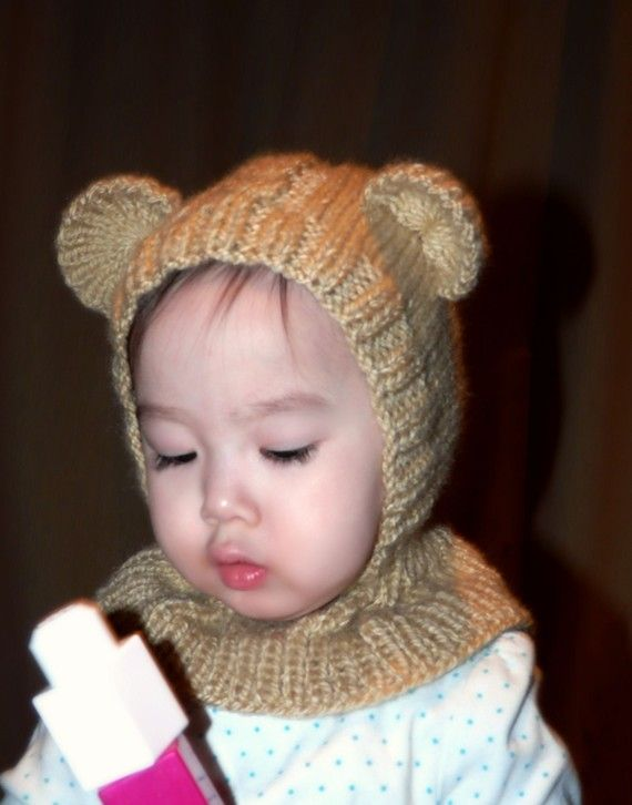 Vanilla Bear coverall hat 612 months by NYrika on Etsy, $33.00