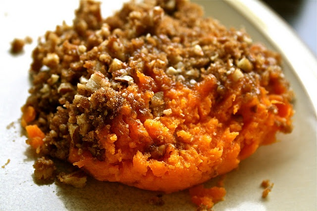 Grand Marnier Sweet Potatoes with Candied Pecans