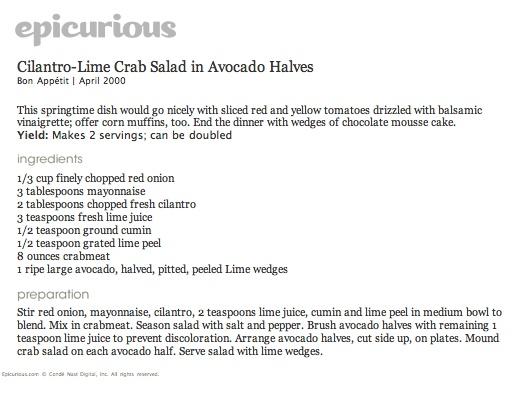 avocado, cilantro, lime, crab salad (chop avocado and mix in, serve ...