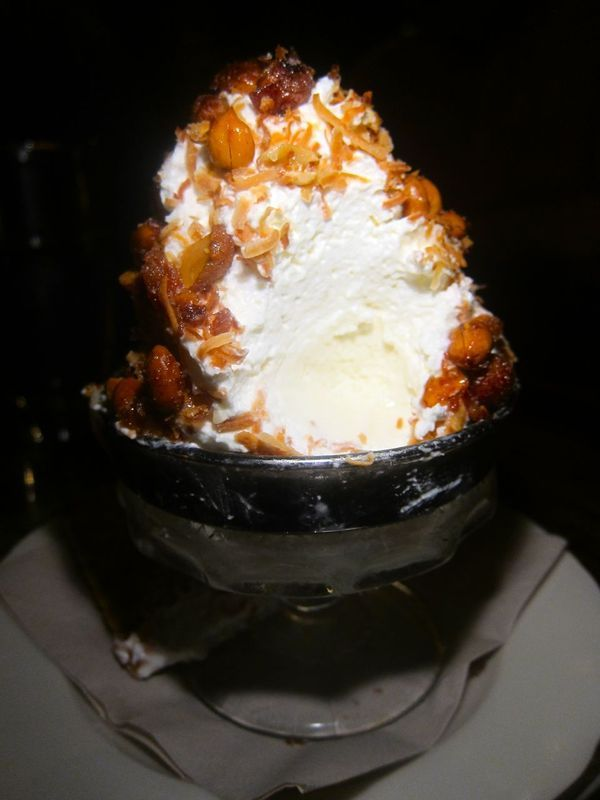 attacked this coconut ice cream classic with palm sugar whipped cream ...