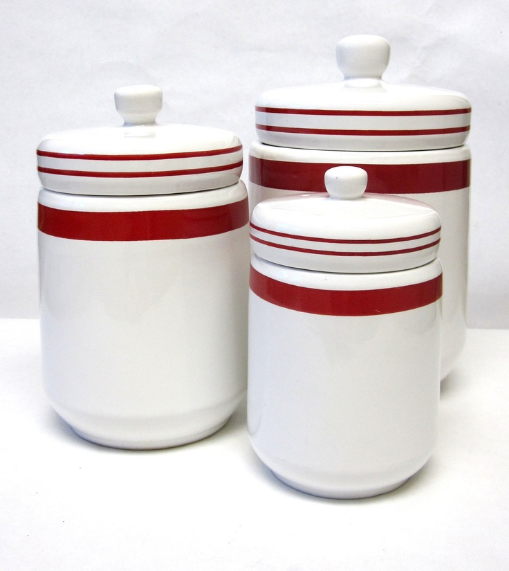 Urban Farmhouse Vintage Canisters Red White Set $32 99
