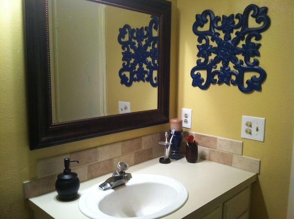 Blue yellow bathroom home projects pinterest for Bathroom designs yellow