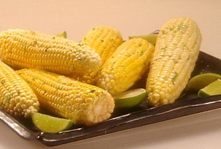 Roasted Corn on the Cob with Cilantro Lime Butter from FoodNetwork.com ...