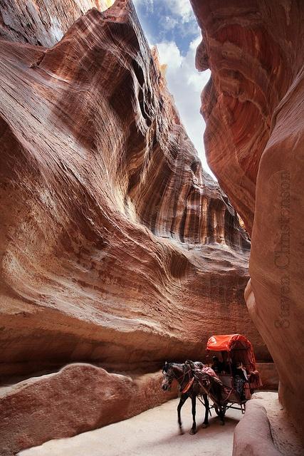 Slot canyon  - entrance to Petra