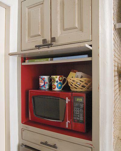 Flip Up Door To Hide Microwave Love This Idea Wish My Kitchen Had