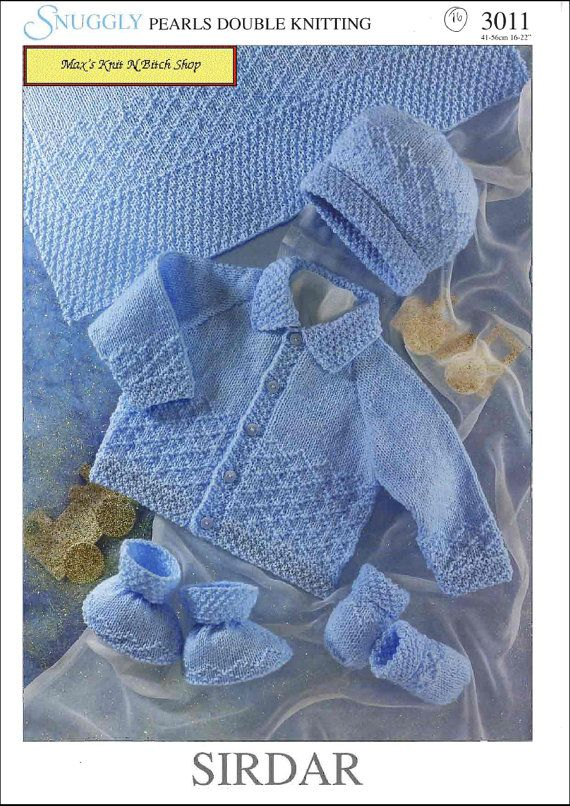 Sirdar Knitting Patterns : Vintage PDF Baby Knitting Pattern - Sirdar 3011 - cardigan hat bootie ...