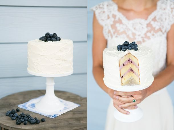 buttercream & blueberry wedding cake