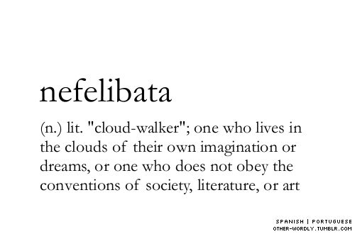 Nefelibata | Portugese : cloud walker lives in the clouds of their own imagination or dreams; one who does not obey th...