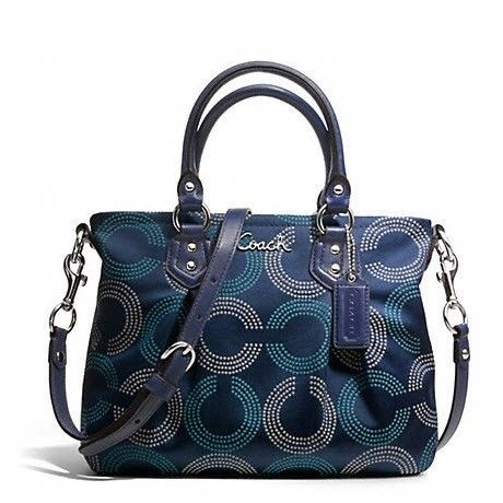 Authentic Coach Ashley Dotted Op Art Tote Crossbody Handbag Navy Blue ...