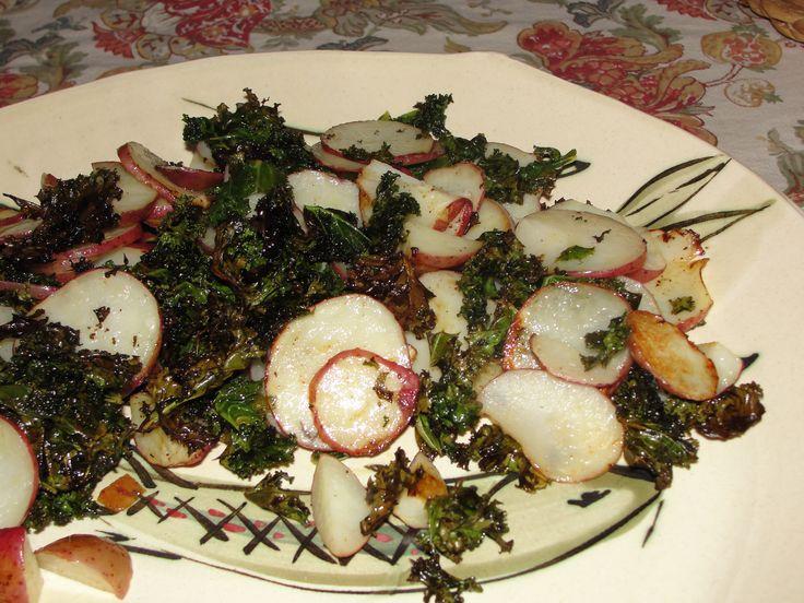 Crispy Kale and Roasted Red Potatoes | food | Pinterest