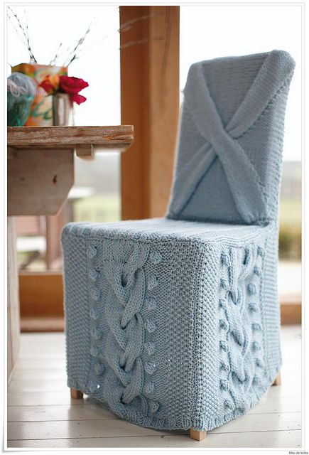 Knit chair cover - cables and bobbles