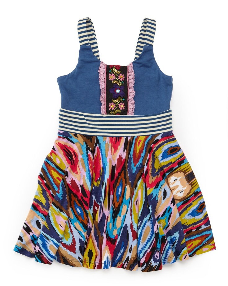 Hannah Banana Ikat-Skirt Cami Dress, 2-4T