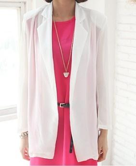 White Chiffon Notch Lapel Long Sleeve Open Sheer Suit