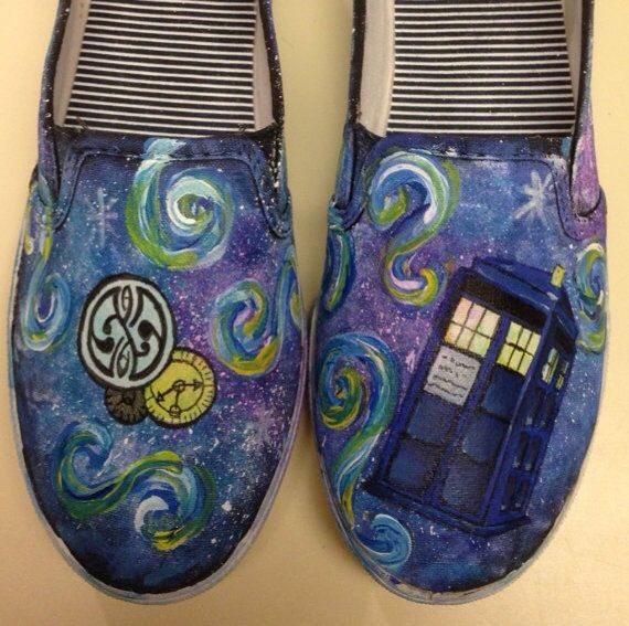 dr who painted shoes tardis handpainted dr who the