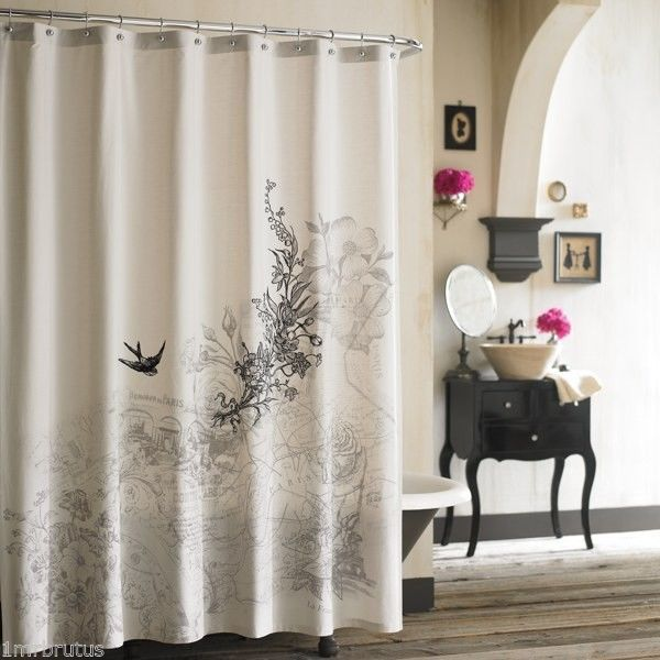 Anthology Amour Fabric Shower Curtain French Bird Floral Shabby Chic ...