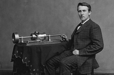 August 12, 1877 is the date popularly given for Thomas Edison's completion of the model for the first phonograph ( shown above). It was developed as a result of Thomas Edison's work on two other inventions, the telegraph and the telephone.