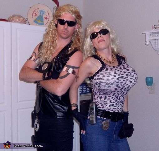 Dog the Bounty Hunter and Beth - Homemade Couple Costume. Oh my gosh I wanna do this just so I can be Beth and shove beach balls down my shirt!