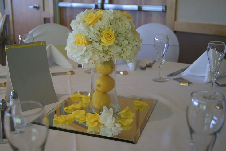 Yellow and gray wedding centerpiece ideas