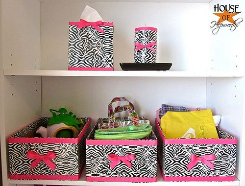 DUCT TAPE!  Cover old boxes/tissue holder/candle with patterned duct tape for a pretty and organized look!