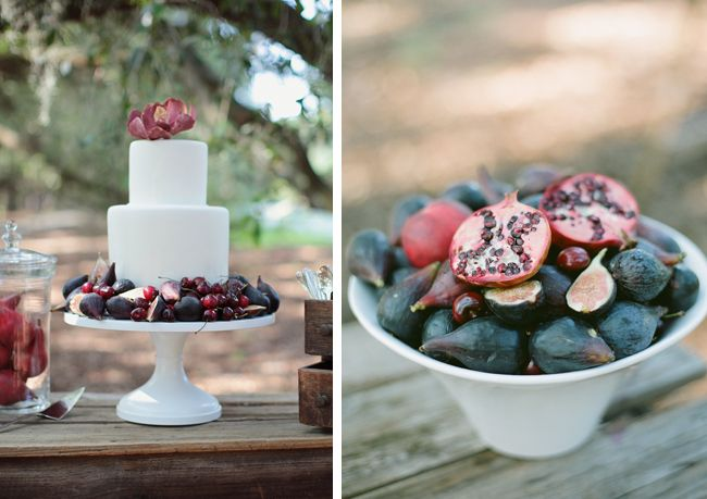Pomegranate and Fig wedding cake via Coastal Bride