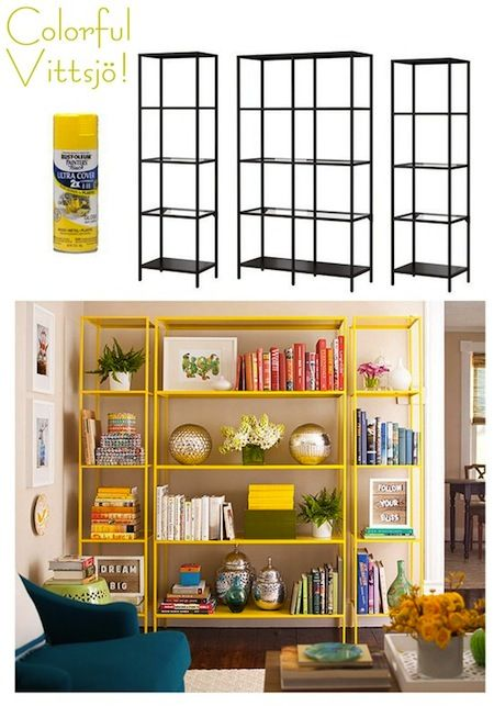 Ikea hack, yellow bookcases, bookcase styling