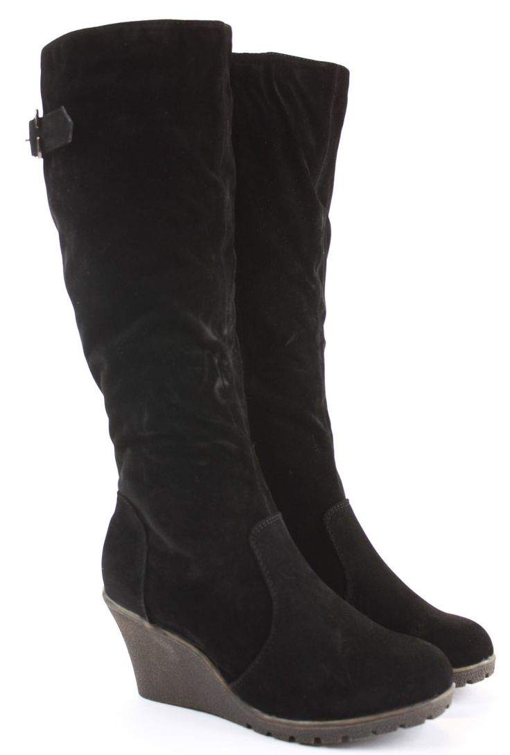 Womens Wedge Shoes Wedges High Heels Platform Winter Knee Boots Size