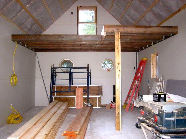Sheetrock 640 480 garage smarage pinterest for Building a loft in a garage