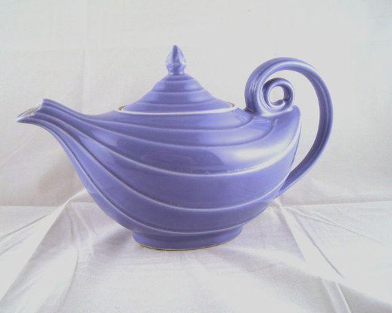 Vintage cornflower blue aladdin teapot by hall very unusual color - Aladdin teapot ...
