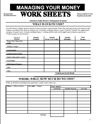 budget sheets for kids