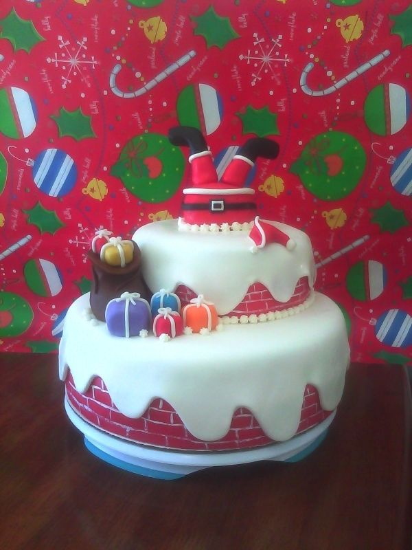 Santa stuck in chimney holiday cakes pinterest Santa stuck in chimney cake