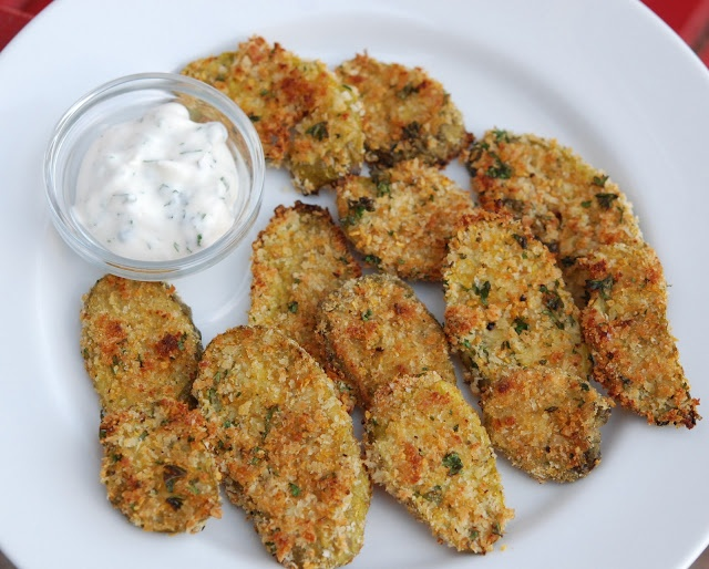 ... Oven Fried Pickles with Low Fat Buttermilk Ranch dressing for dipping