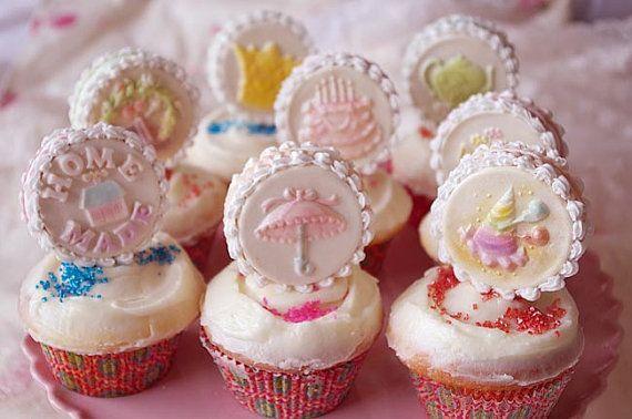 Sandwich Cookie Fondant Cupcake Pick, Mini Cake Topper - Stamped Tea ...