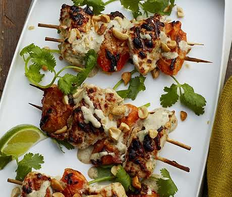 Chicken-Apricot Skewers Recipe at Epicurious.com