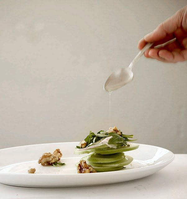 Crisp Apple Salad with Candied Walnuts and Bleu Cheese   A Stack of ...