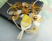 """bridal bird necklace """"Romantic Robin"""", amber flowers and rust pearls in floral necklace best for bride and garden wedding"""
