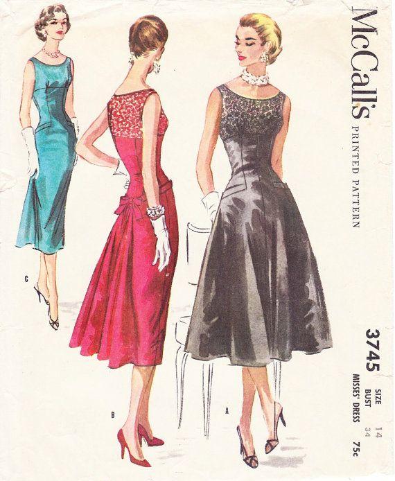 Vintage1950s mccalls misses cocktail dress size 14 bust 34