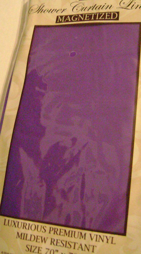 New Purple Lavender Shower Curtain Liner Vinyl Magnets Mildew Proof ...