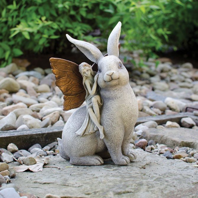 Fairy And Rabbit Garden Statue Enchanted Lawn Figurine