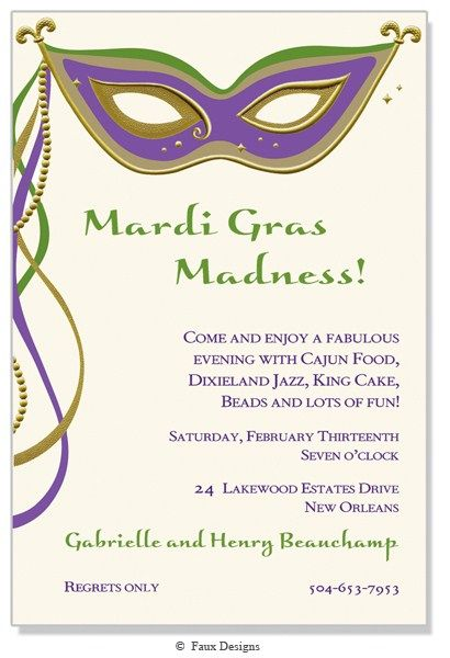 masquerade invitations template free - mardi gras party invitation