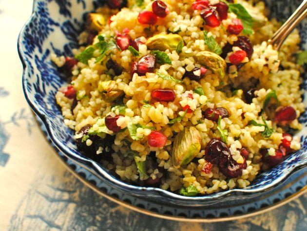 Pomegranate, Pistachio and Sour Cherry Bulgur Wheat Salad