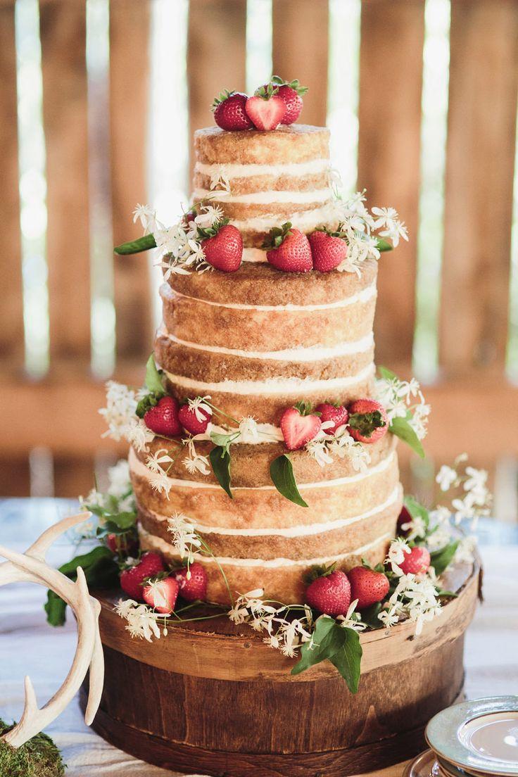 naked cake. strawberries. rustic/vintage wedding cake