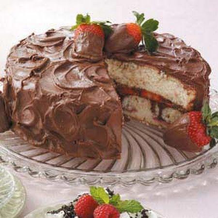 Chocolate-Covered Strawberries Cake Recipe. Johnny's birthday cake!