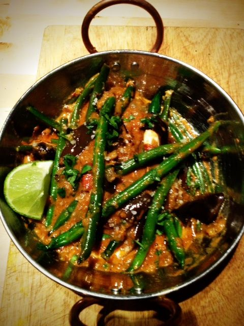 eggplant and green bean curry