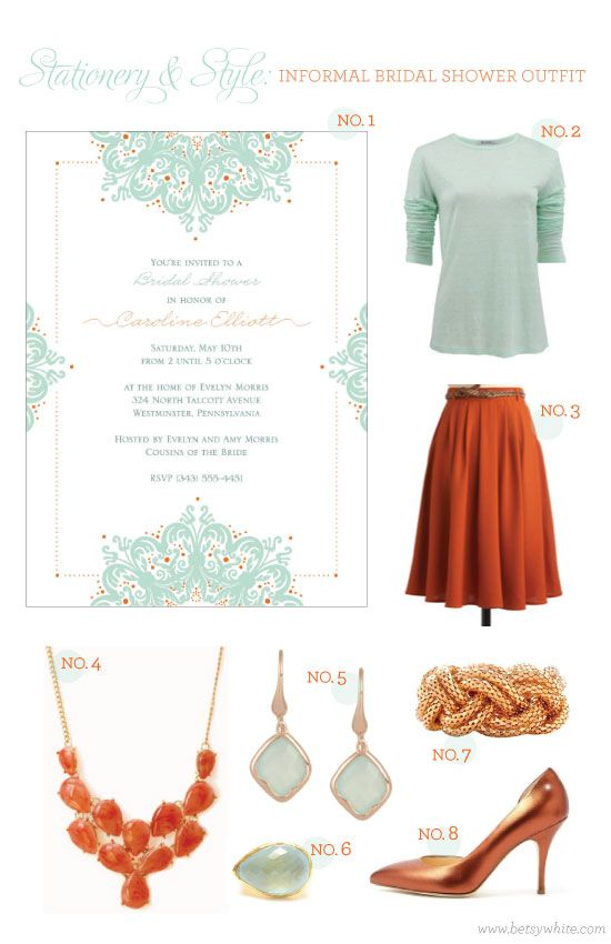 Stationery & Style: Informal Bridal Shower Outfit inspired by our 'Jeweled Frame' invitation