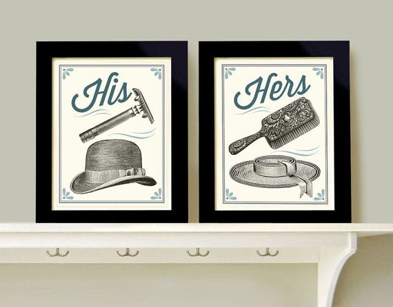 His and hers bathroom decor powder room wall art print for His and hers bathroom accessories