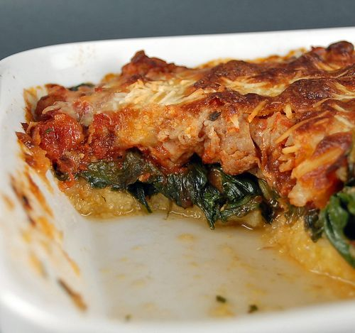 Baked Polenta w/Spinach and Chicken Sausage - I made this last night ...